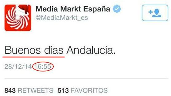 """Ayer @MediaMarkt_es tuiteó a 16h: """"Buenos días Andalucía"""". Se armó y borró tuit. Que lea esto http://t.co/7gqJCHC5Ge http://t.co/CsFEP4eqaC"""