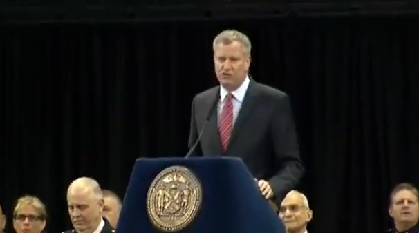 """Mayor de Blasio speaking live at NYPD graduation: Says """"you didn't create these problems"""" - someone yells """"YOU did."""" http://t.co/Fpyj4MC6Hm"""