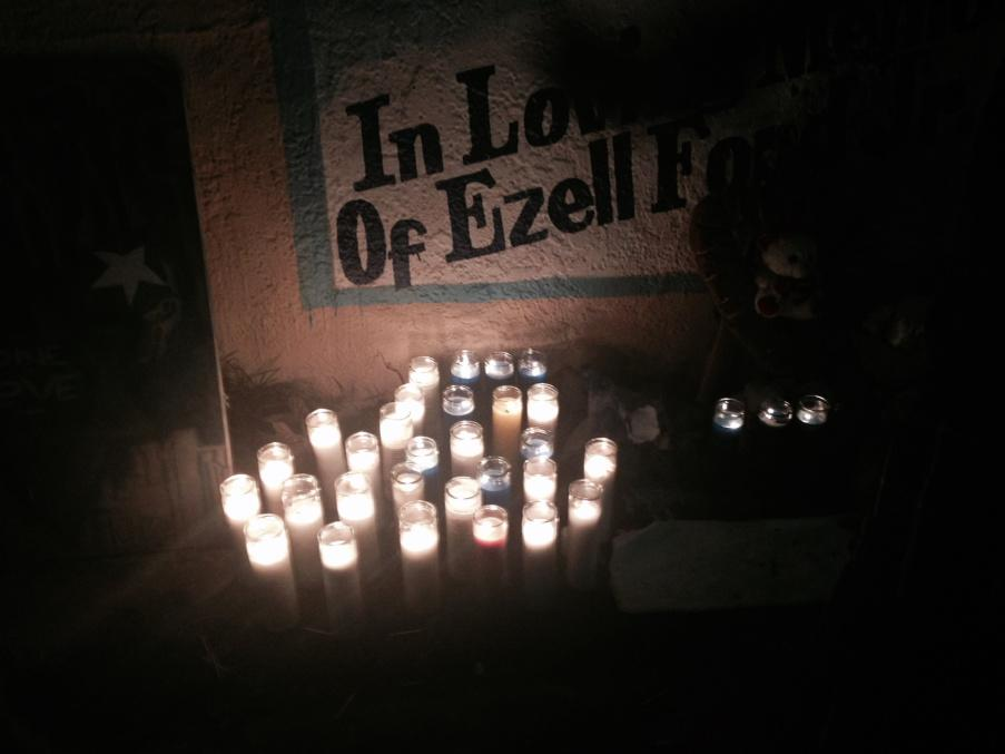Ezell Ford's mother came by the memorial for a few minutes but declined to speak to reporters. http://t.co/ZhwdTKwbQ5