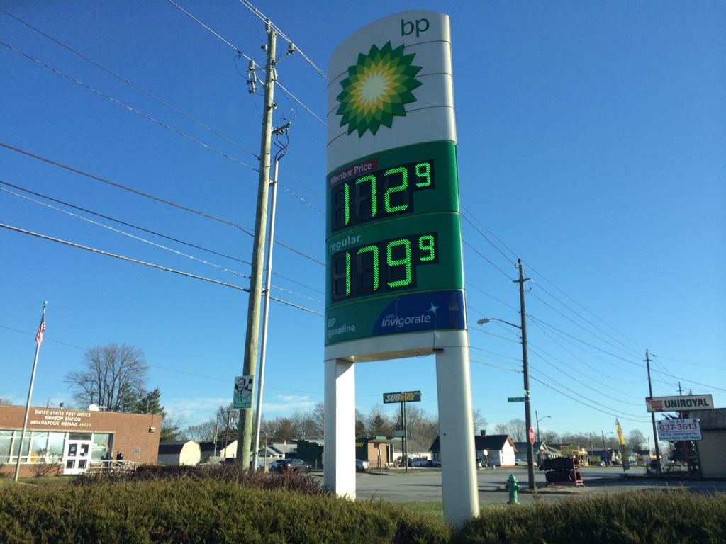 No joke.1.79 a gallon. Rickets at 16th and Tibbs. @WTHRcom http://t.co/SiOATBYdG5