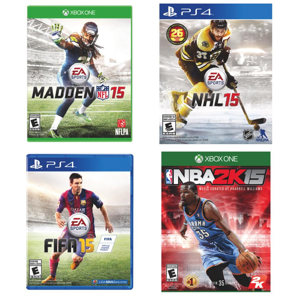 Get your sports fix! SAVE $20 on #NHL15 #FIFA15 #NBA2K15 & #Madden15 for #PS4 & #XboxOne! http://t.co/mfnsilk5zk http://t.co/GitMxOc3nJ