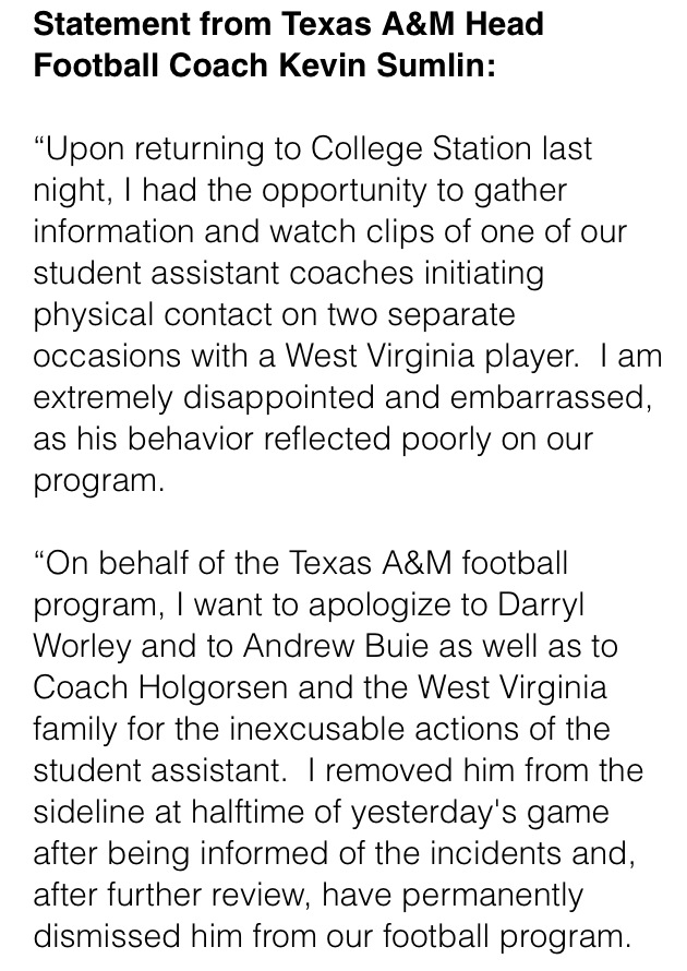 Texas A&M coach Kevin Sumlin has permanently dismissed student assistant Michael Richardson for striking WV player. http://t.co/qaxaop3zt9