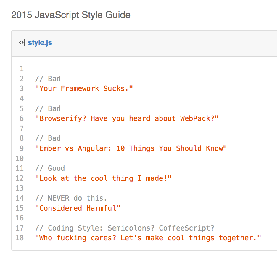 I've update my JS style guide for 2015: https://t.co/cpvfVsKbd9 http://t.co/HREON2MzME