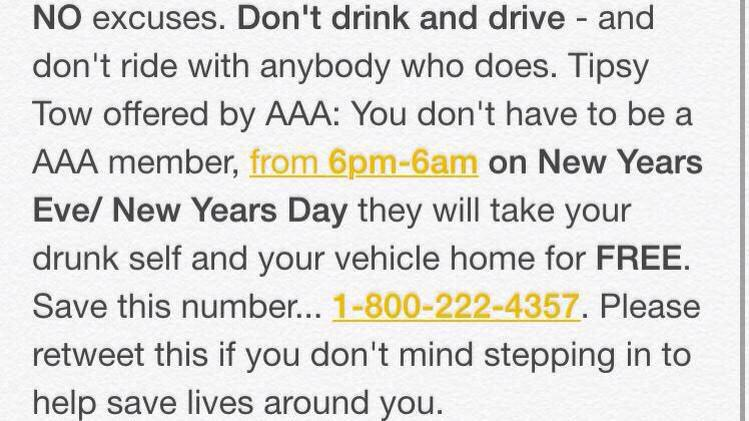 don't drink & drive tonight, be safe everyone! happy new year! http://t.co/5iaC3j7uQt