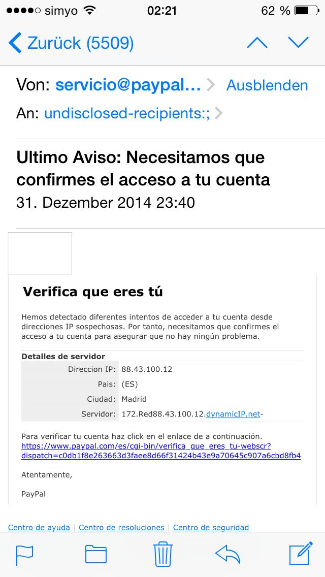 Mucho ojo a correos falsos de Paypal que están llegando en grandes cantidades (parecen reales) CC @policia #phising http://t.co/tJalVzUD8A