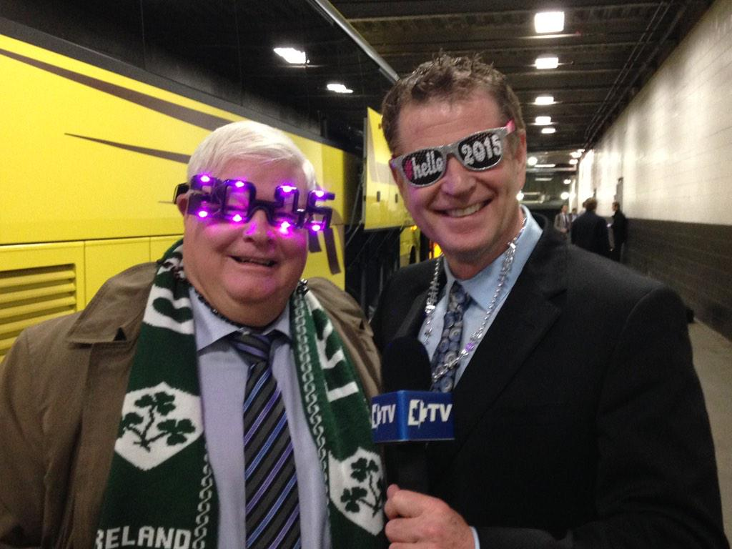 .@HennyTweets & @BonsieTweets ring in the new year on the @MapleLeafs Post Game show in style. Tune in soon! http://t.co/7Rnsa77bzc