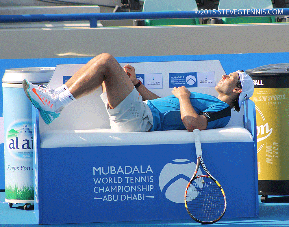 #Nadal looking relaxed and confident @MubadalaTennis - His 1st match is 5pm local time tomorrow http://t.co/l4k3lcHtPs