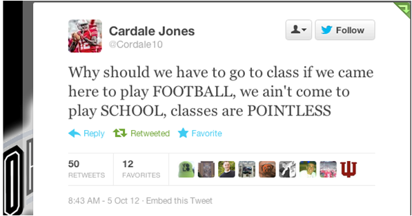 as a reminder, OSU quarterback Cardale Jones aint come here to play school http://t.co/eHhppjTYN3