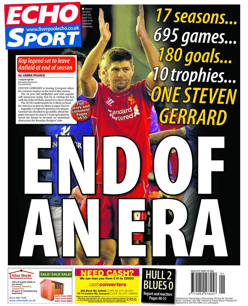Tomorrow's Liverpool Echo back page #endofanera #StevenGerrard http://t.co/a1Jj25JUGy
