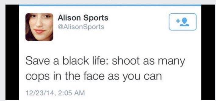 ICYMI: This > @AlisonSports is a cop hater / killer advocate on Twitter / @Twitter by her own words. http://t.co/iPuK2JU3LG