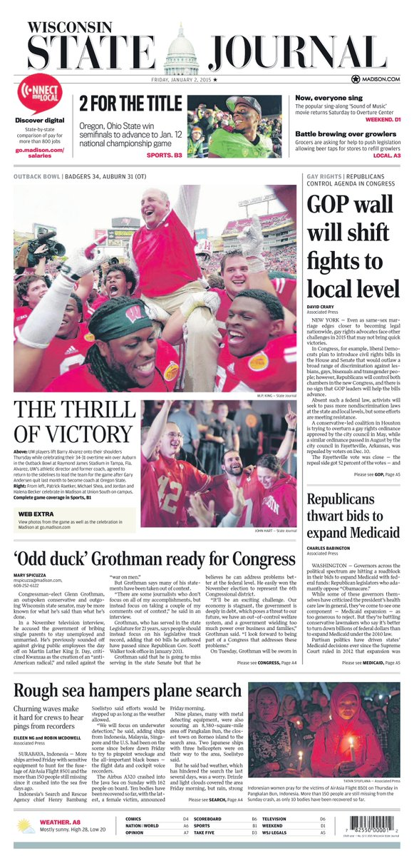 Today's @WiStateJournal front page and Sports cover. #Badgers #OutbackBowl http://t.co/ZwpjhzMOW7