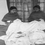 1948 :: Abha Gandhi with Blood Stained Shawl of Mahatma Gandhi http://t.co/G7sX2YhRk7