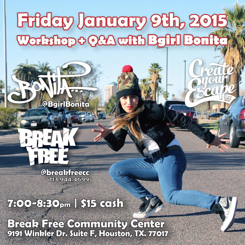 Houston, TX next Friday! Bboy/ Bgirl workshop at @BreakFreeCC!! 7pm | $15 http://t.co/nOavwH5VDi