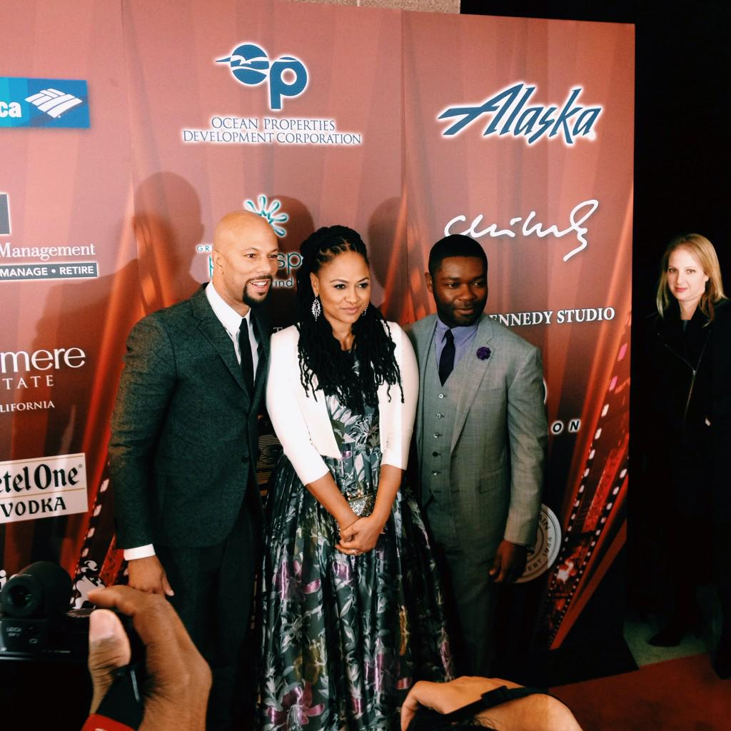 Director Ava DuVernay w/ Actors @common & David Oyelweo on the Red Carpet for their Opening Night feature @selmafilm. http://t.co/ItKj4IhKCe