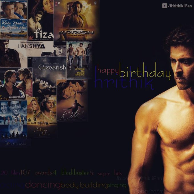 Happy Birthday Hrithik Roshan.. U r d one who inspired me ..my inspire as always ..  Love&Respect