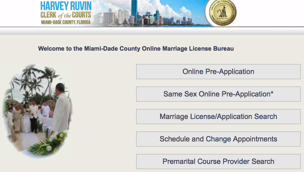 Miami Dade County Online Marriage License Bureau Now Has Same Sex