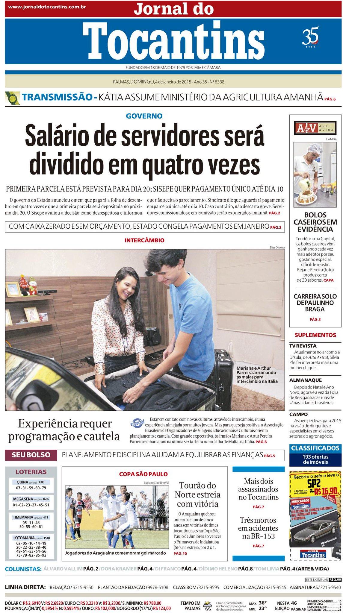 Bom dia! Confira os destaques da capa do Jornal do Tocantins deste domingo, 4 de janeiro: http://t.co/Mr0OhHqqem