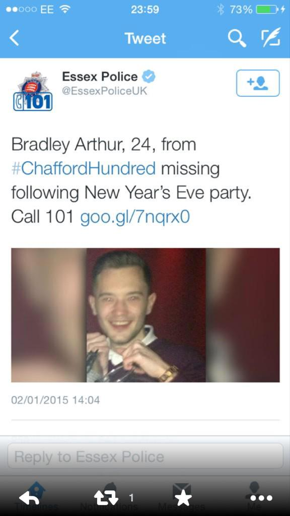 Think of this lads family , any info on him call 101 ... Bradley Arthur , 24 from Grays been missing several days http://t.co/sadVoRWi4n