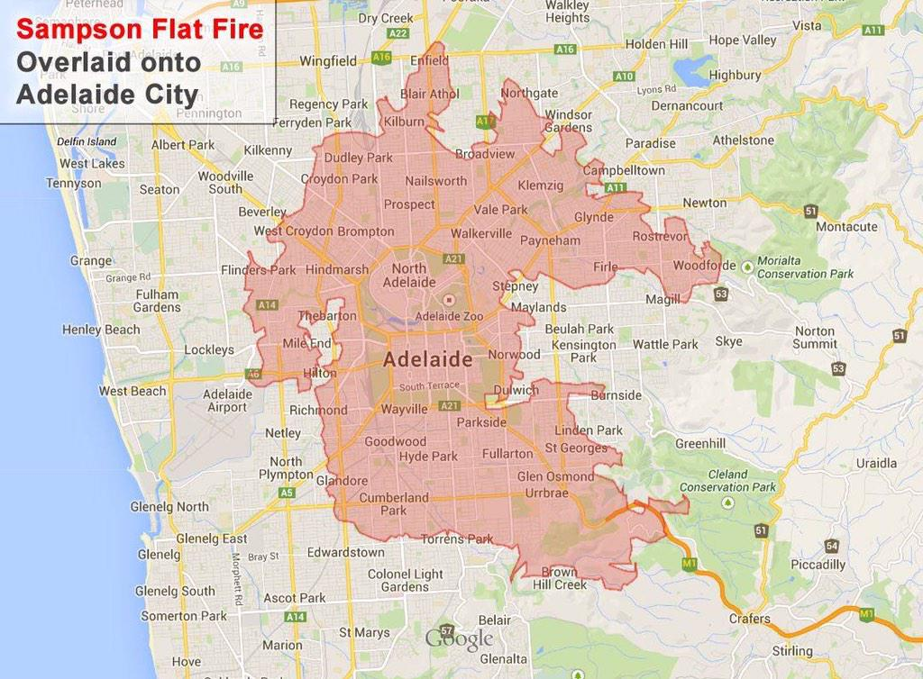 The #AdelHills #bushfire is HUGE! Jon Falzon graphic shows the burn area overlaid on #Adelaide city. @glamadelaide http://t.co/refwklQze9