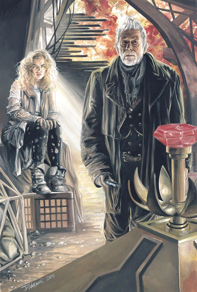 """BadWolf"" Rose and War Doctor. Gouache on 12x18 hot-pressed cotton watercolor paper. #DoctorWho #rose http://t.co/Rkn758LWjj"