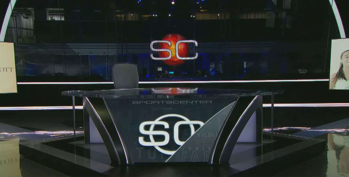 We leave an empty seat on the SportsCenter set tonight to honor Stuart Scott. We will miss him.