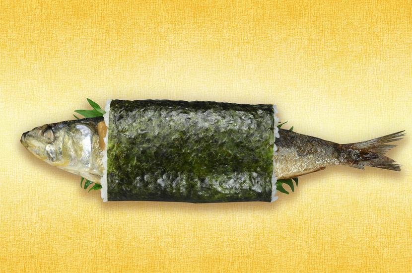 回転寿司チェーン「無添くら寿司」が発売する、2月3日の節分に食べる恵方巻の新商品「まるごといわし巻」。いわしの中骨は抜かれており食べやすいとのこと。1万本限定販売で、価格は350円(税別)。 http://t.co/1F9uysIN3Z