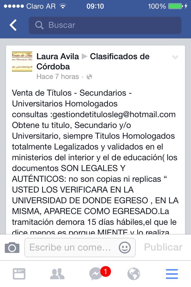 Asi como si nada en Facebook te venden títulos Secundarios y Universitarios (UNC y S21) #chantas http://t.co/y9IZqArX99