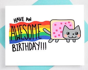 Happy Birthday Here\s a Nyan Cat birthday card for you