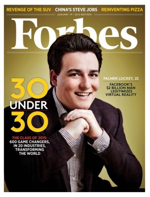 Check out @oculus founder @PalmerLuckey on the cover of @Forbes! Read the story: http://t.co/LKQEMMhs3l http://t.co/9oeTzAJLva