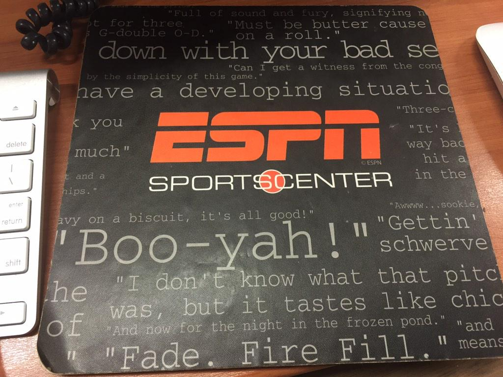 Just realized this is my mousepad at work. He's everywhere. #BooYah! http://t.co/DlXmXT0xV5