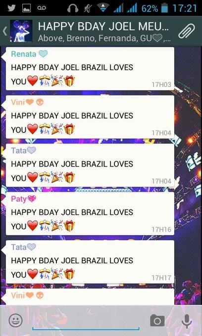 HAPPY BIRTHDAY JOEL  BRAZIL LOVES YOOOOU
