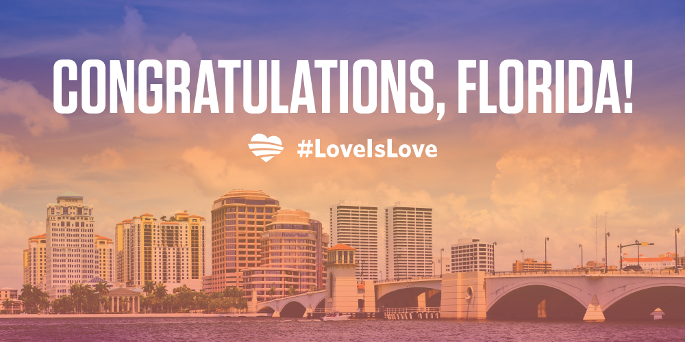Retweet to help celebrate the first day of same-sex marriages in the Sunshine State. #LoveisLove http://t.co/fAhCFj5rZ1
