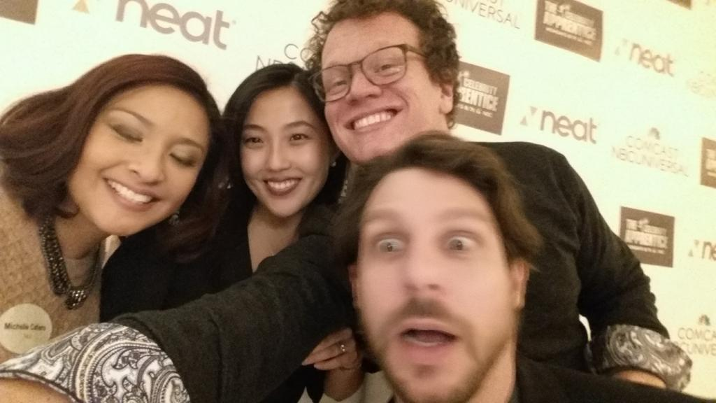 #CelebApprentice #GetToWhatMatters #GetNeat #Comcast Neat's marketing team (and ux designer) getting cheesy http://t.co/MORPiippAA