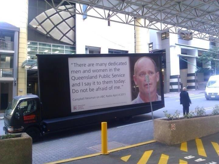 Qlders who lost jobs won't forget this on George St before last election.  #qldvotes #qldpol pic via @FlatEarthGang  http://t.co/E95EFvYf2J