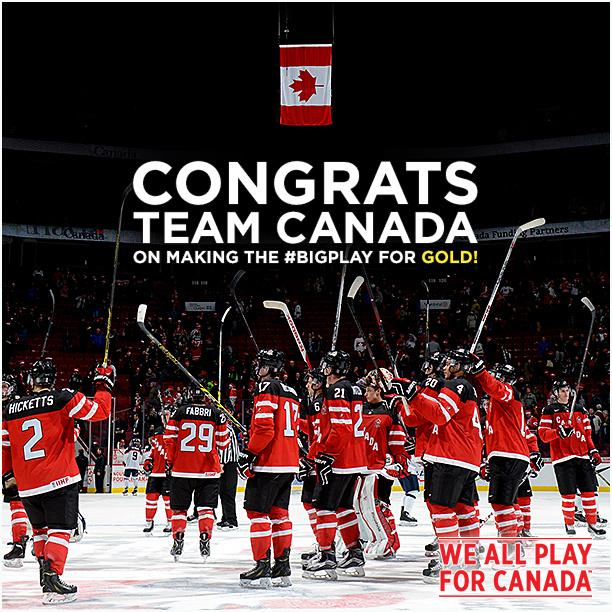 Congrats #TeamCanada on winning #Gold! #BigPlay #WJC2015 #CANvsRUS http://t.co/JW3IJwXB0c
