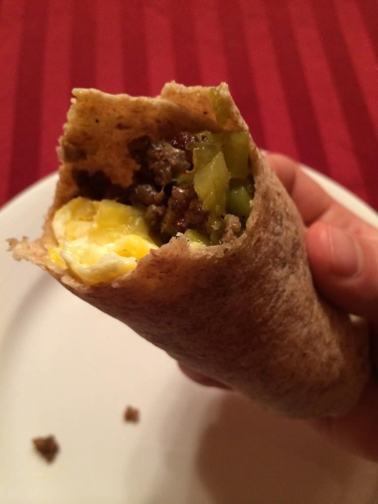 #CookingStreak Day 6 Egg, sausage, green chile, and Cheddar breakfast  burrito. Secret weapon: Mexican oregano. http://t.co/azMJWXryu3