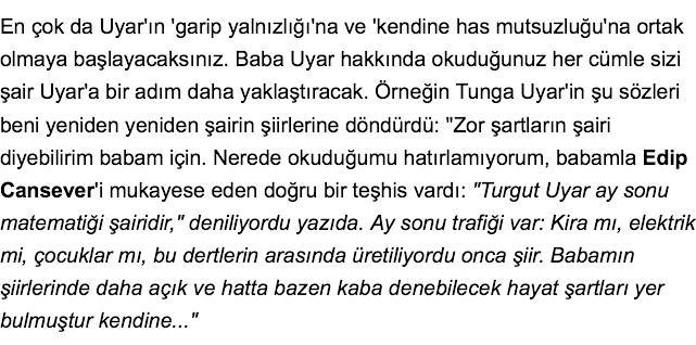 'Turgut Uyar ay sonu matematiği şairidir' (Turgut Uyar'ın Çocuklarıyız kitabından) http://t.co/U4vPSVao3g