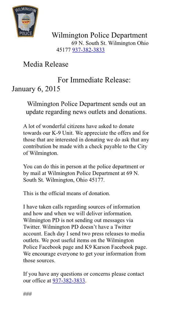 Please RT: #WilmingtonPolice announces official sources for #K9Karson search info and donation collection. @whiotv http://t.co/ON4DNLarOV