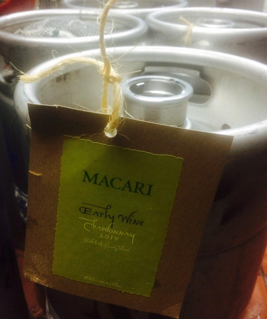 Kegs of @MacariVineyards Early Wine have arrived @TheJeffreyNYC. Going on tap very soon! #NOFO #DrinkLocal http://t.co/D4L87QumbE