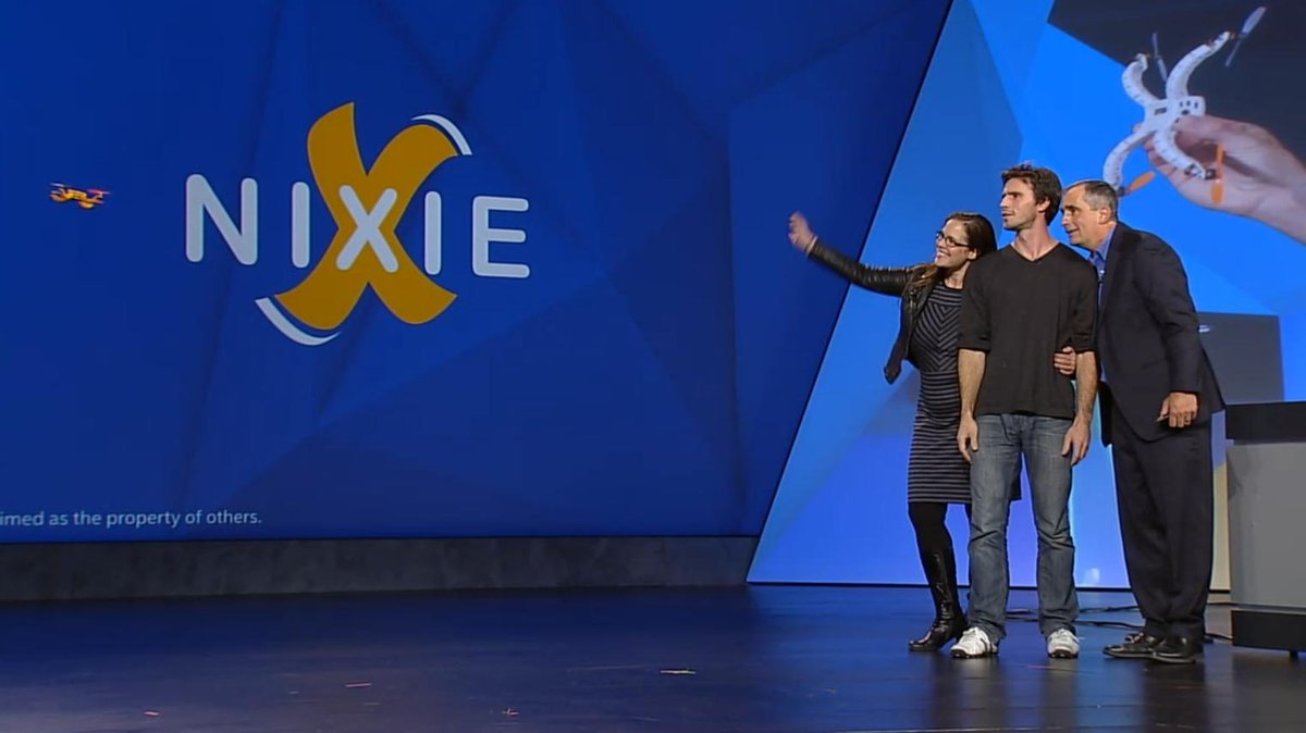 Nixie takes a pic on stage. #flynixie #CES2015 @intel http://t.co/TG1F8Ck60f