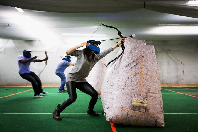 There is a sport call Archery Tag that is basically like dodgeball, but with foam-tipped arrows. http://t.co/2xKWDnfgNu