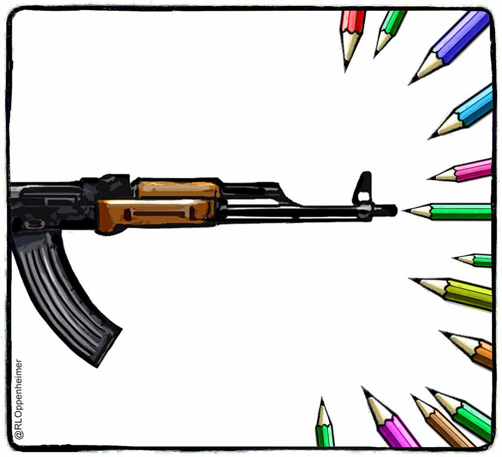 Cartoonisten nemen hun wapen op: 'De inkt moet vloeien, niet het bloed' http://t.co/dZYKcUzBWg #CharlieHebdo http://t.co/VQFhxSFKb8