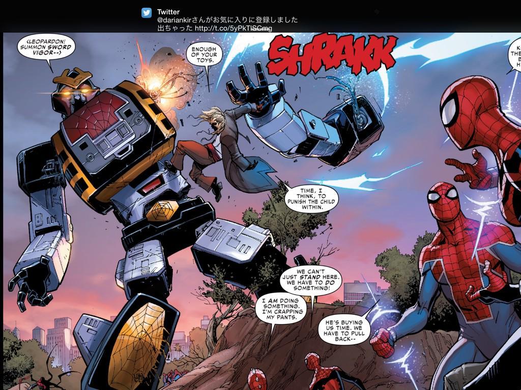 スパイダーマンのアメコミに東映版スパイダーマンと巨大ロボレオパルドンが登場