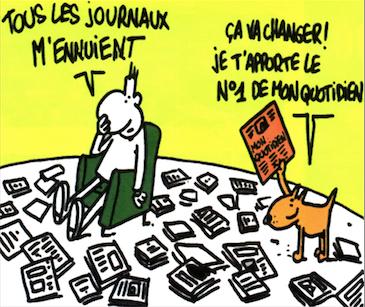 Hommage à l'ami Charb: son premier dessin dans Mon Quotidien, il y a 20 ans. #JeSuisCharlie http://t.co/KNldf1kux6