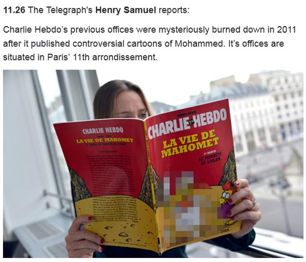 Как побеждает терроризм: Телеграф замазал Магомета на обложке Шарли Эбдо в новости о терракте http://t.co/G5m6UeNzhH http://t.co/YuB2Vw744b