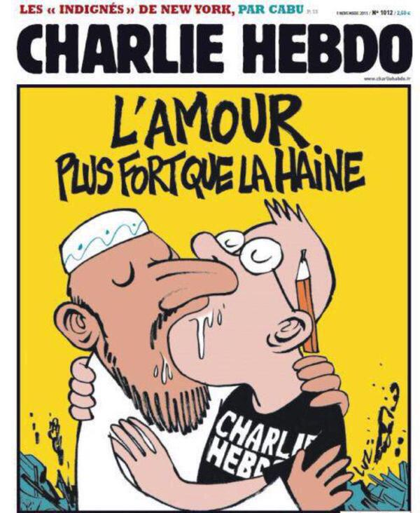 RT @mattvella: The cover Charlie ran after it was attacked 4 yrs ago #ParisShooting 'love is stronger than hate' http://t.co/QiLQ6cb8lW