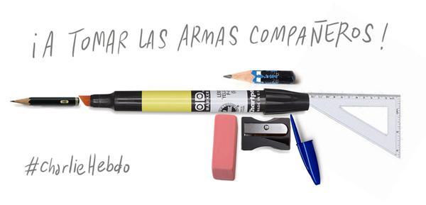 Frente a la barbarie, éstas son nuestras armas #CharlieHebdo #JeSuisCharlie http://t.co/SnnmBpO1DJ