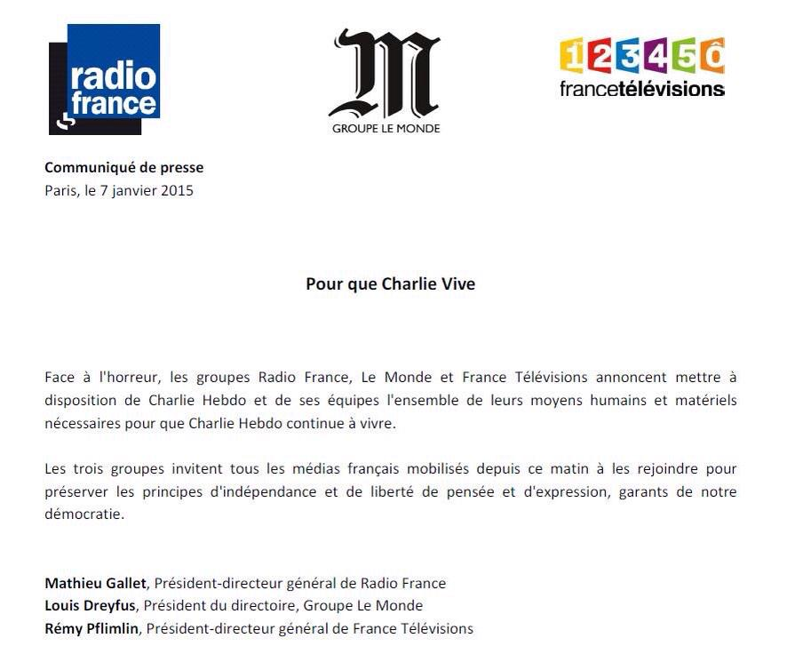 Mooi. De concurrentie biedt redactie #CharlieHebdo alles wat ze nodig heeft RT @lucbronner Pour que Charlie vive http://t.co/IvtI5fu3rC