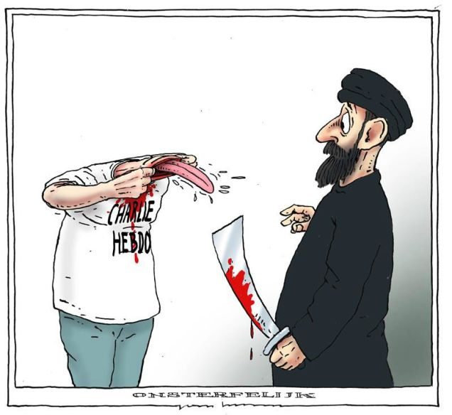 """@milaficent: I think this cartoon says it all. No idea who created it, but kudos! #CharlieHebdo #JeSuisCharlie http://t.co/BXTwLr7BQ3"""