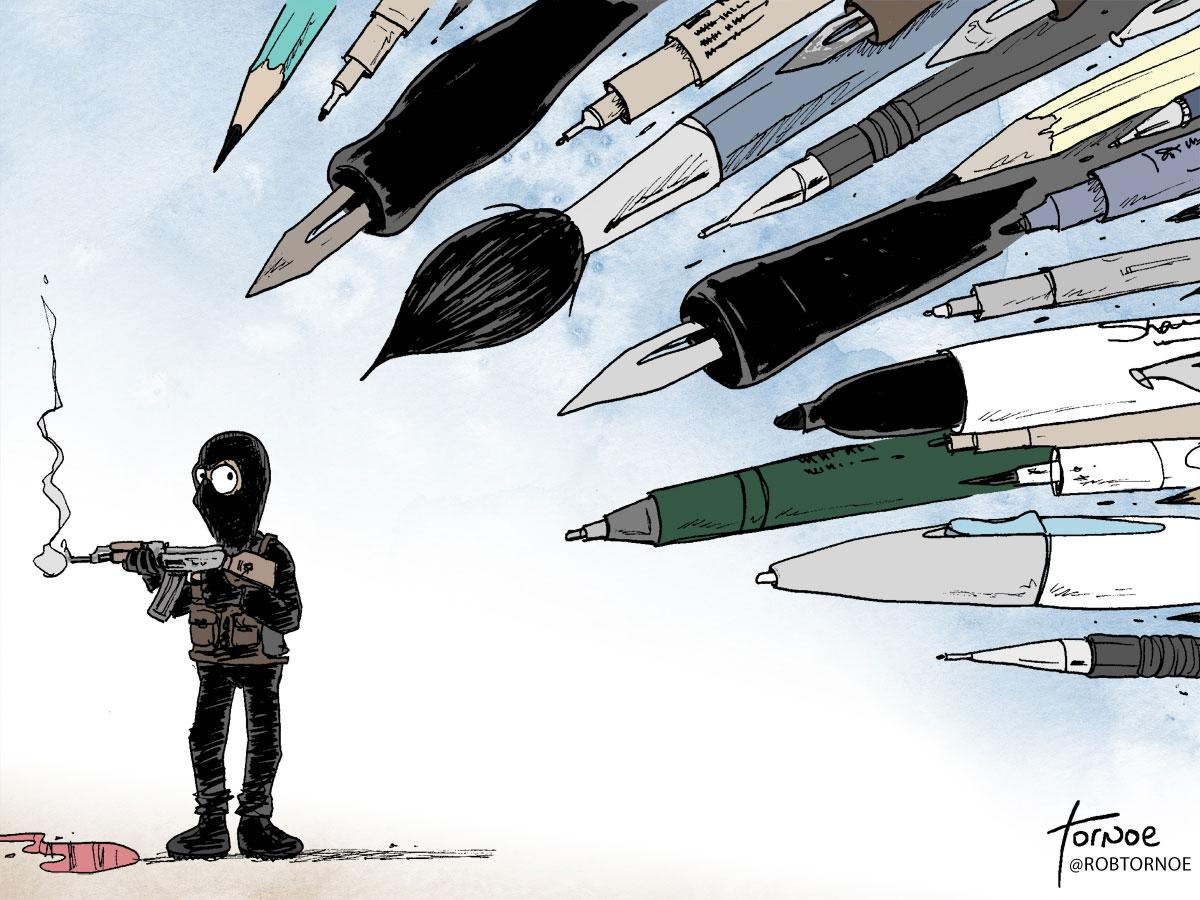 Collection of cartoonist responses from across the globe to #CharlieHebdo attacks: http://t.co/bNX5lJOCHc http://t.co/vR3YQyZWBY
